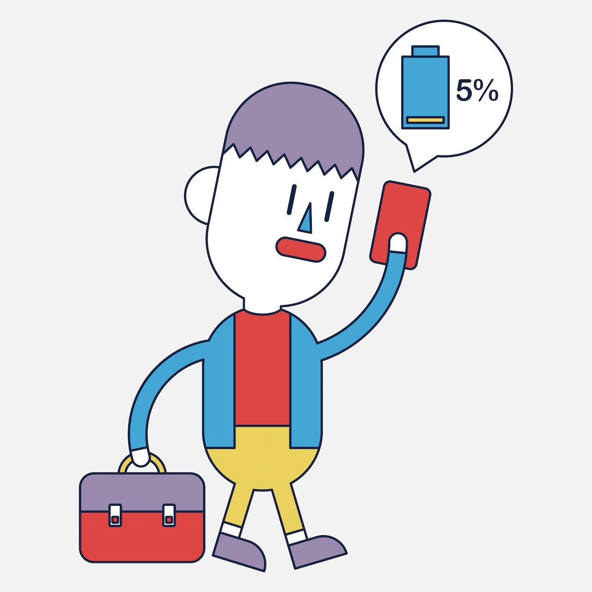 Character illustration design. Businessman cellphone out of charge cartoon,eps
