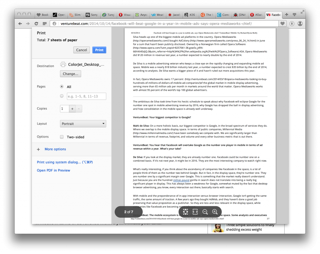 Print preview in Opera - Bookmarks sharing in Opera 26 Developer