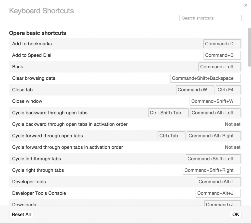 keyboard shortcut editor