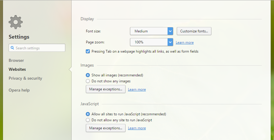 settings page controls