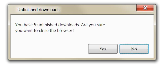 Active downloads warning