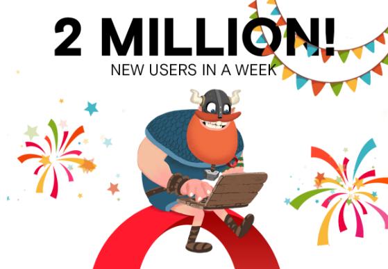 Opera browser desktop VPN best launch ever thanks 2 million users