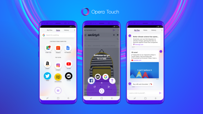 Opera Touch, new browser from Opera