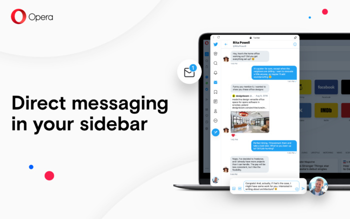 Direct messaging in your sidebar