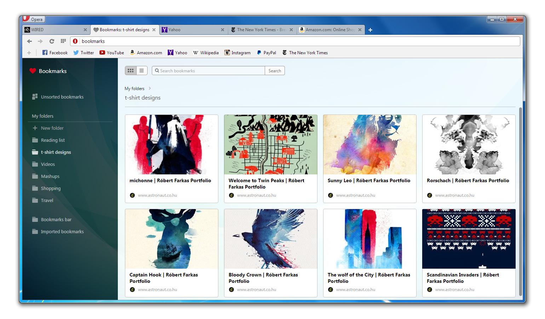 Opera 25 visual bookmarks screenshot