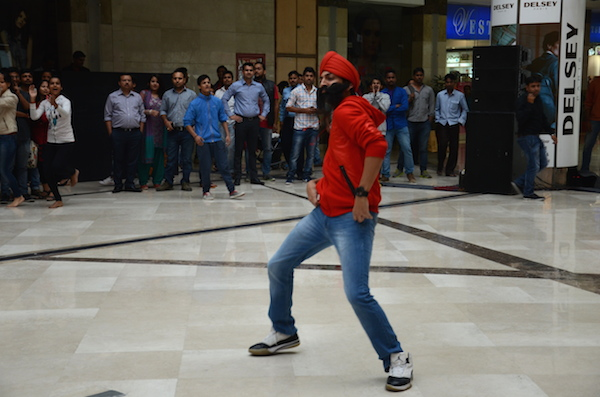 The flash mob began with a single dancer setting the pace
