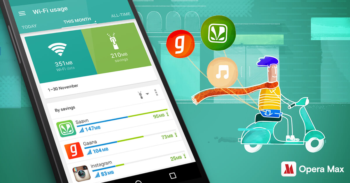 Save data in Gaana and Saavn with Opera Max