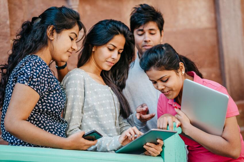Students enjoying free Wi-Fi