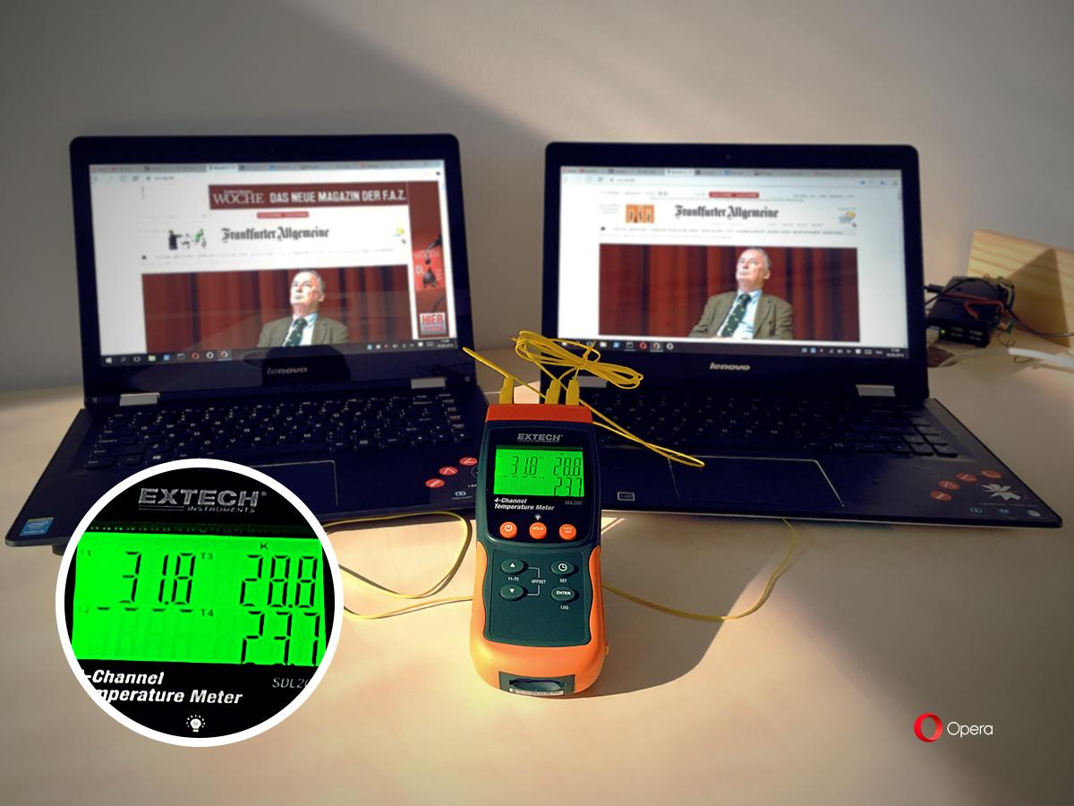 ओपेरा ब्राउज़र लैपटाॅप को 3 डिग्री सेल्सियस अधिक ठंडा रख सकता है