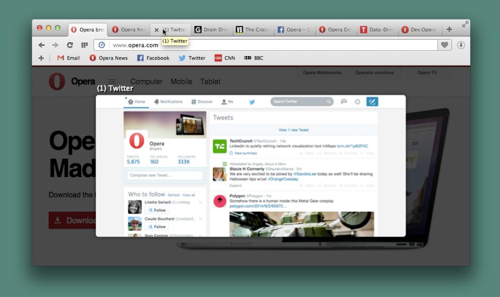 Opera Desktop Tab Preview