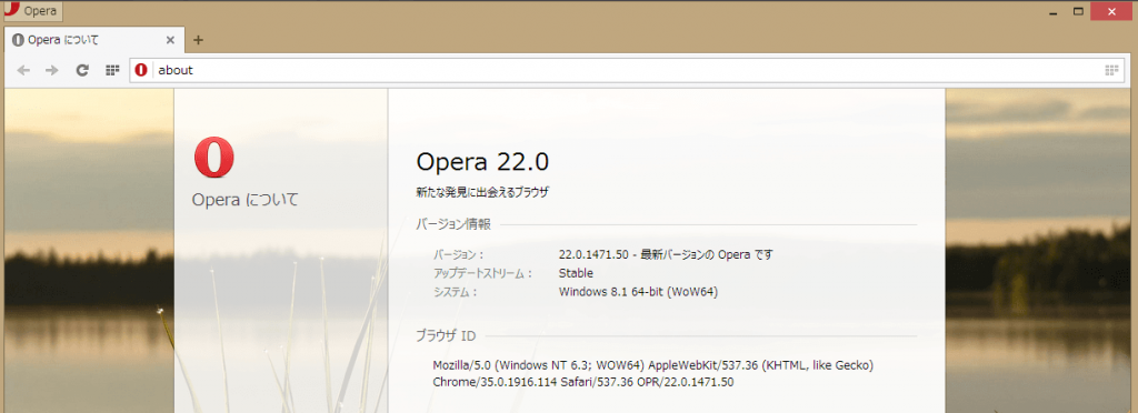 Opera22バージョン表示