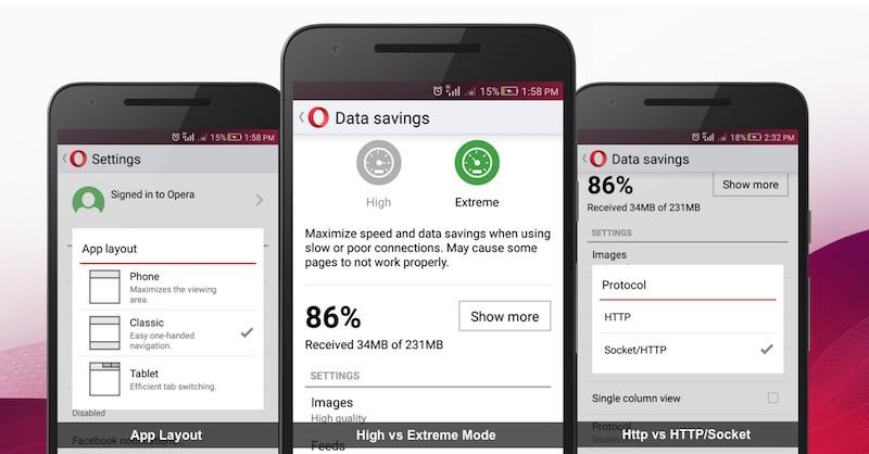 imagen: Opera Mini ahorrador de datos