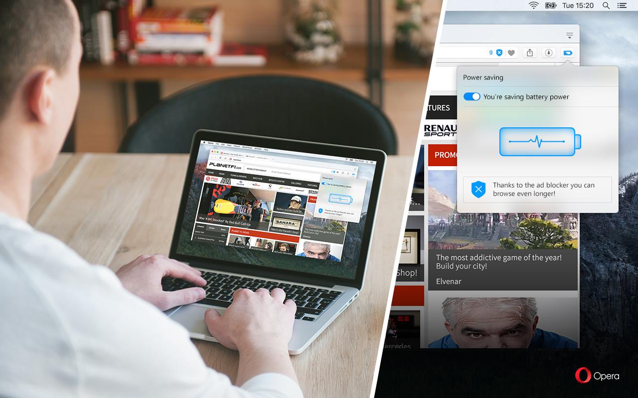 imagen: modo ahorro de batería en Opera browser