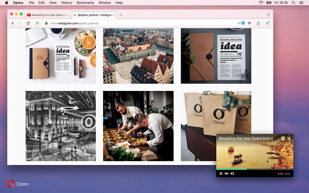 imagen: video emergente Opera para Computadoras