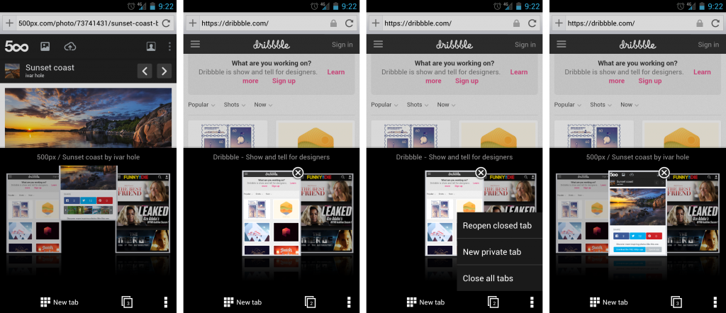 How to manage tabs in Opera for Android