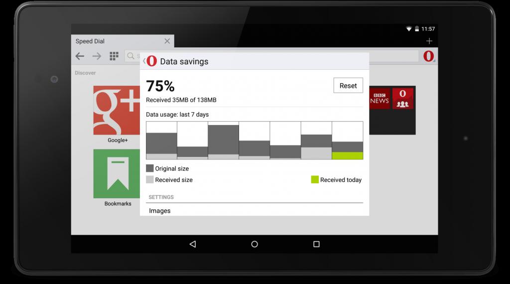 Data savings in Opera Mini for Android beta
