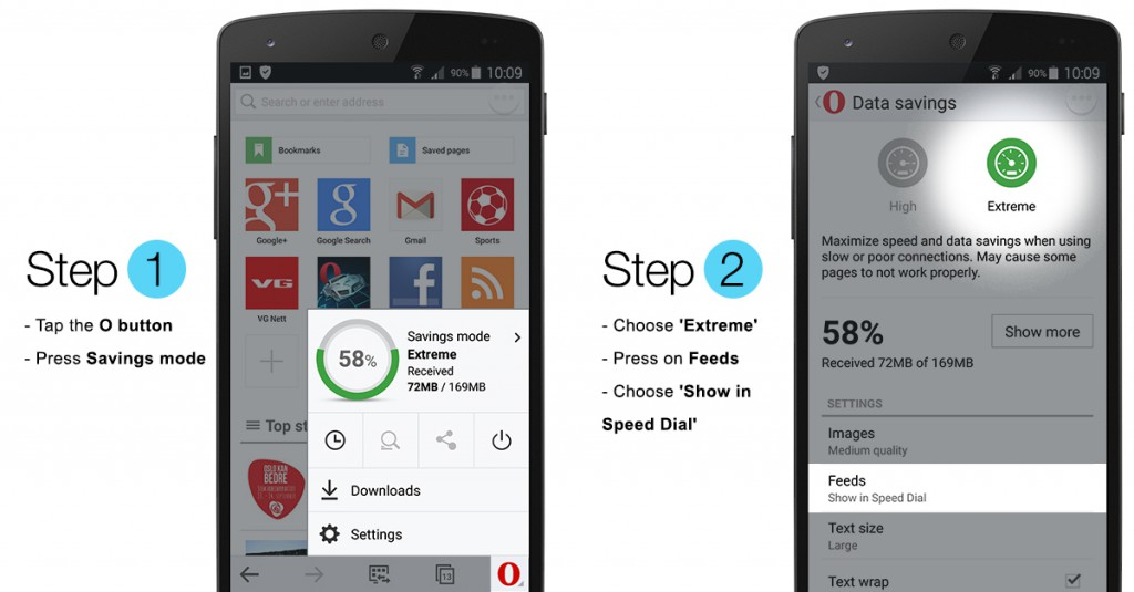 Here's how to add RSS feeds in Opera Mini