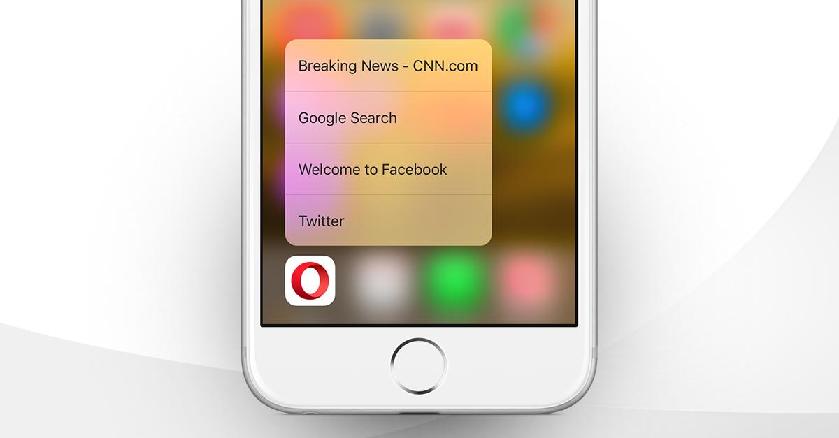 Opera Mini iOS browser - Apple iPhone 6S 3D Touch Spotlight