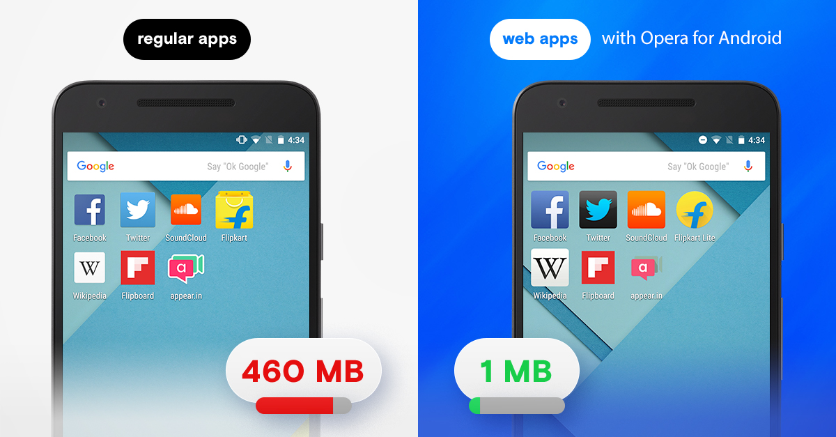 opera for android browser web apps save data