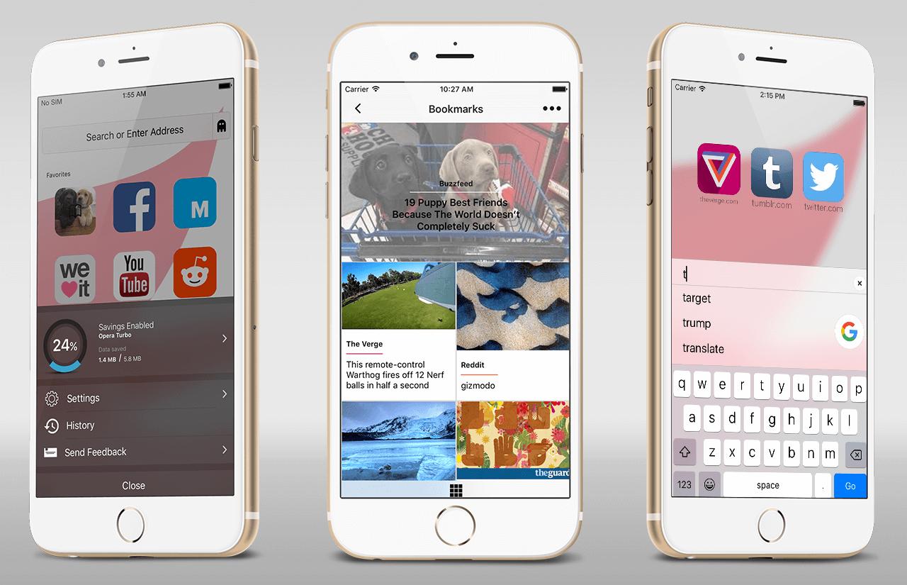 Opera iOS test beta new browser app Apple fast safe data save