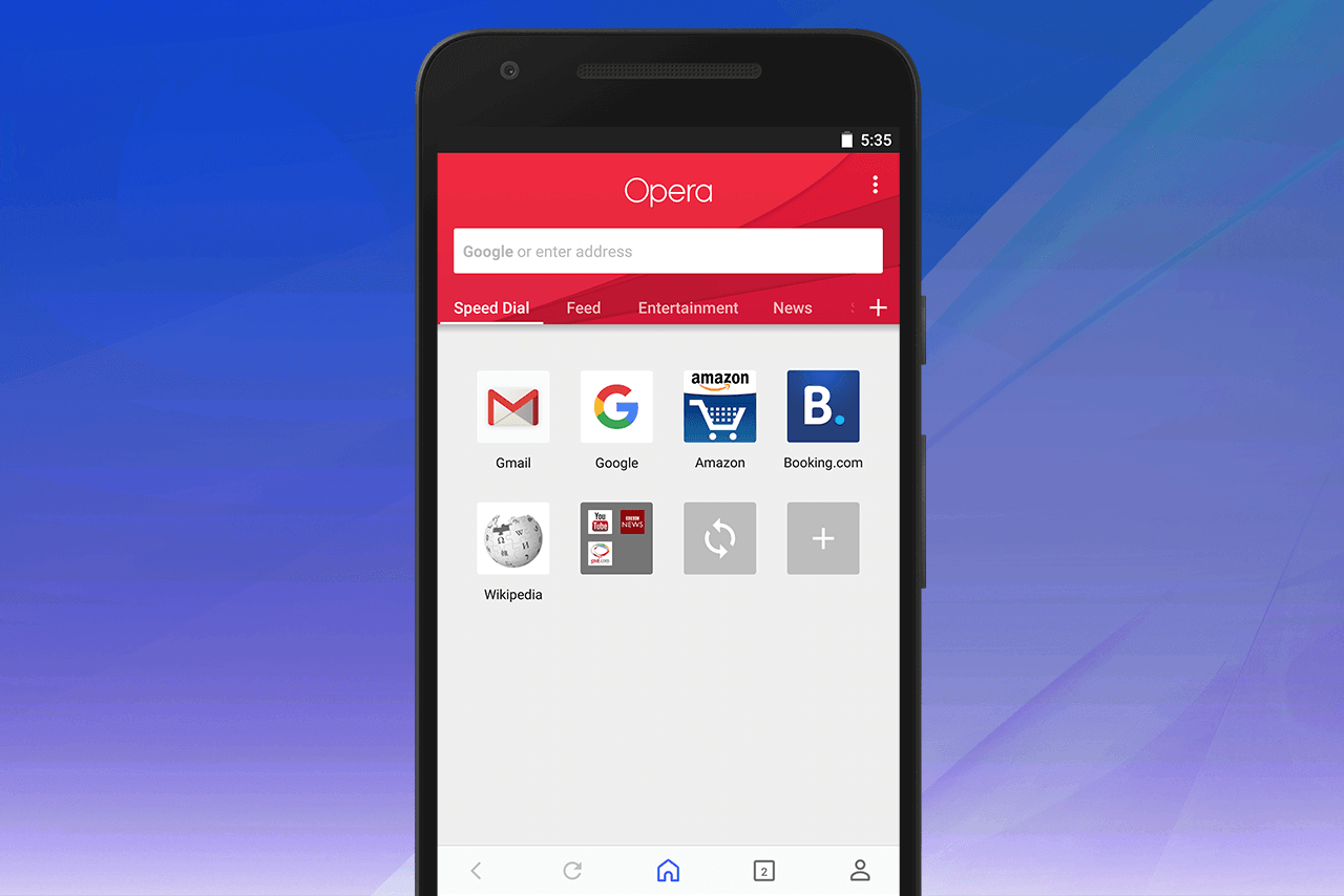 Opera for Android Speed Dial