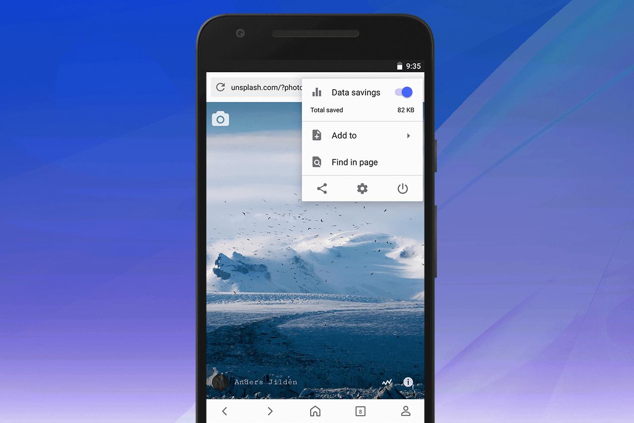 Opera for Android three-dots menu