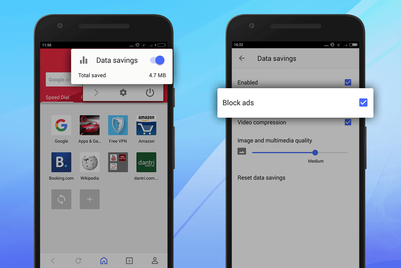 Opera for Android - data savings