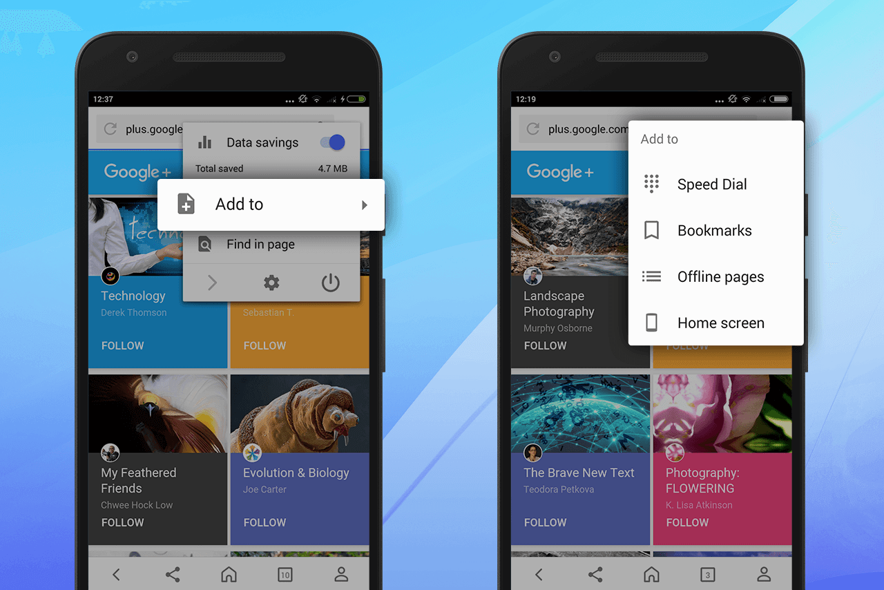 Opera for Android - add to