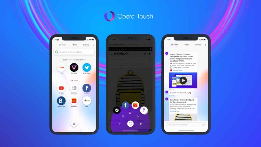 Opera Touch features Flow, FAB and dynamic home screen