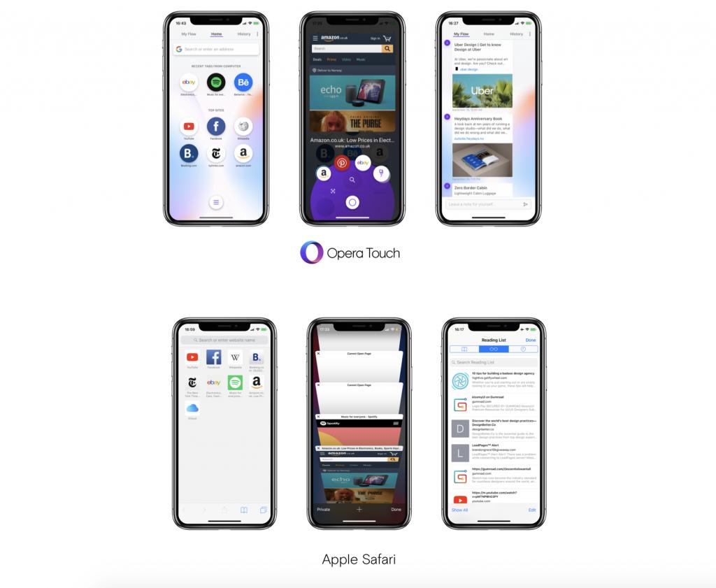 Opera Touch vs. Apple Safari feature comparison