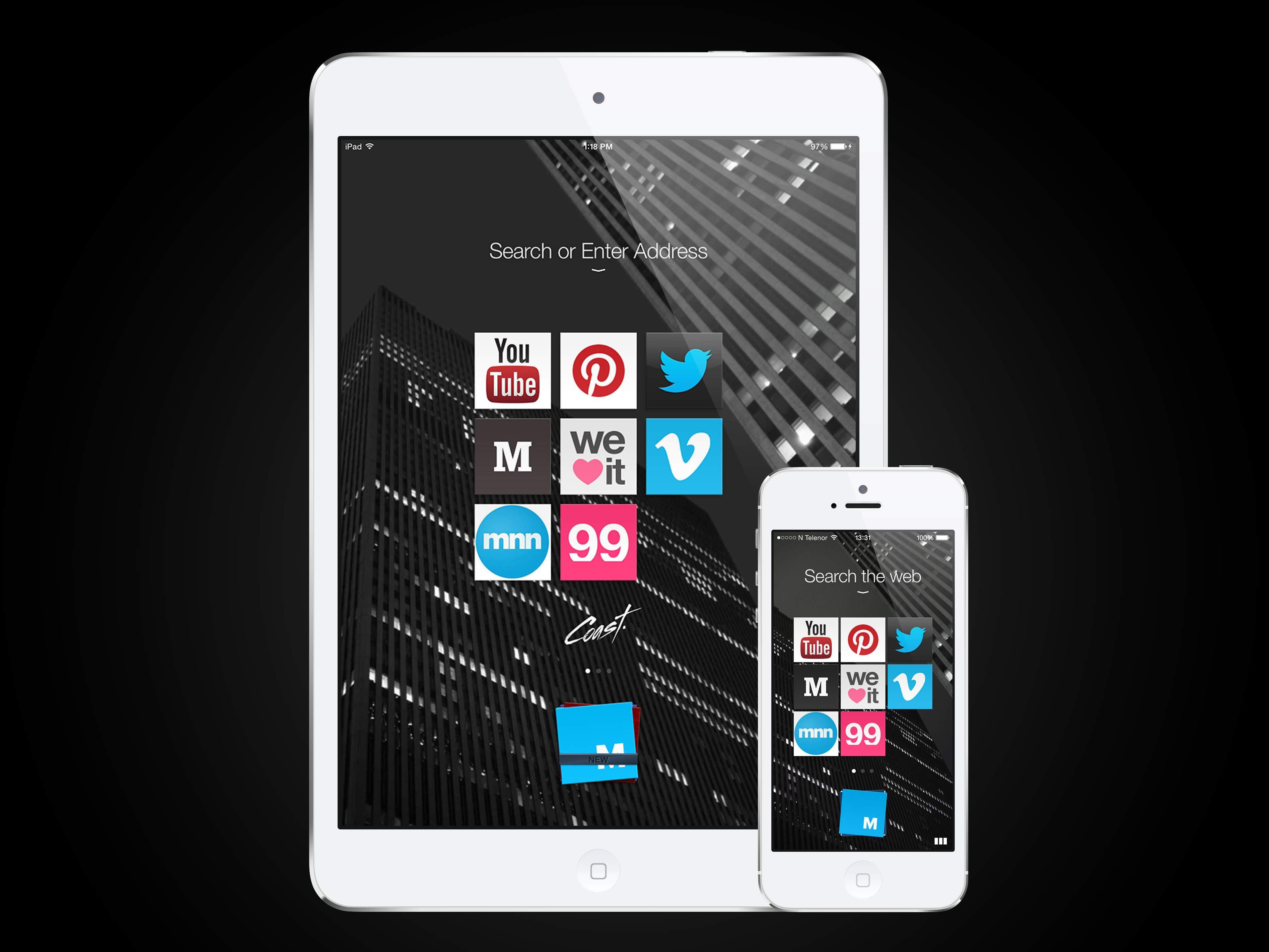 iPad と iPhone サーチ画面