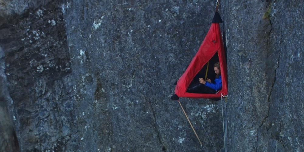 In a hanging tent in Kjerag, Norway