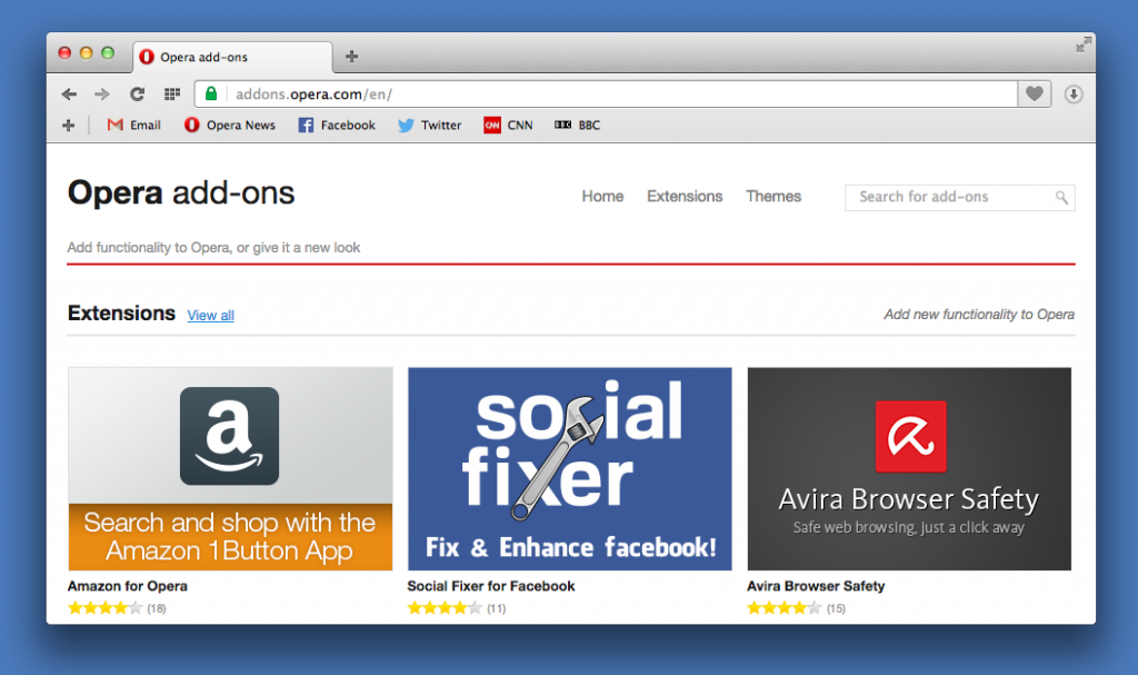 Personalize Opera browser with 1000+ extensions