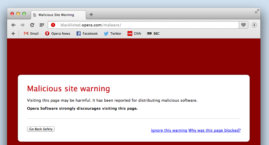 Opera's malicious site warning also helps you browse securely