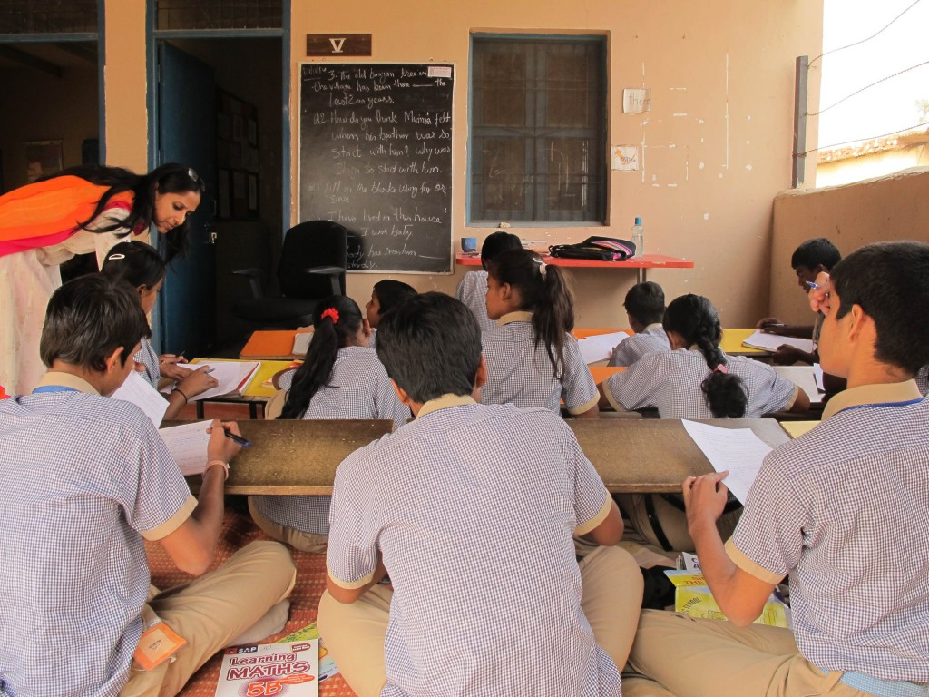 In the Gurgoan school I visitied the teacher/student ratio was 1:20. Way better than most students face in public schools.