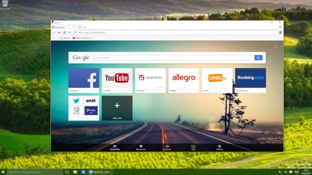 Here's what Opera browser for Windows 10 looks like.