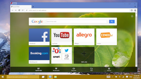 Opera browser in Windows 10 preview