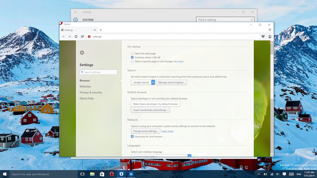 Set Opera as default browser on Windows 10
