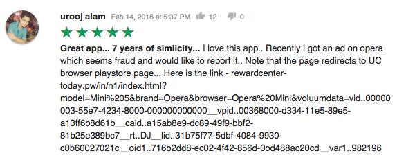 UC browser virus fake advert Google Play report