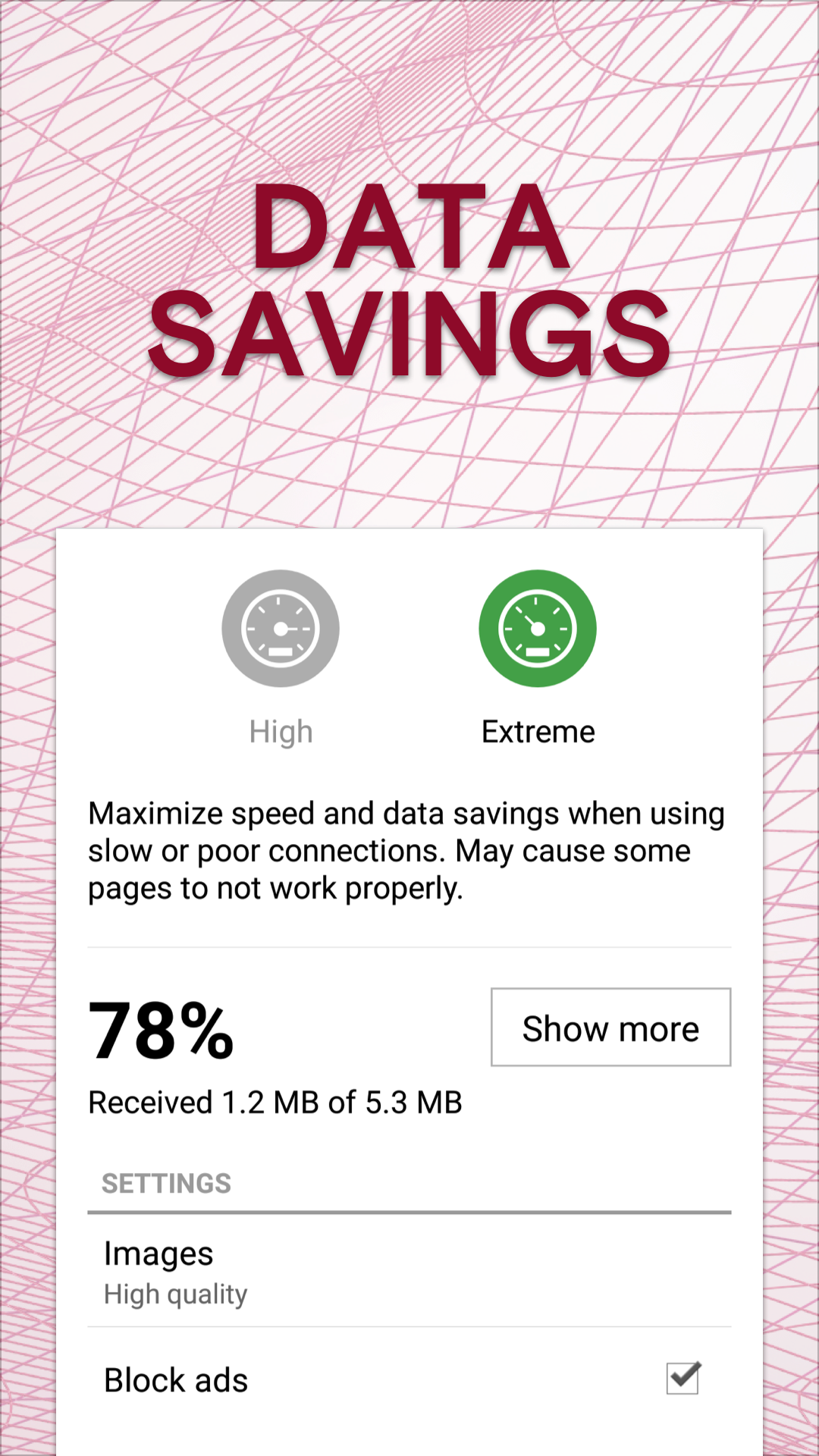 Opera Mini saves on data roaming in extreme mode