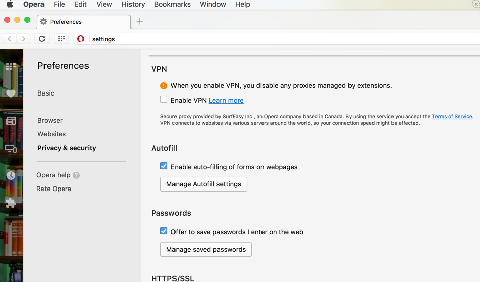 How to set up a VPN in the Opera menu