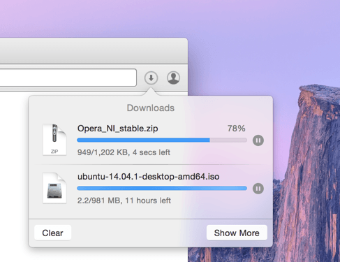 Download dialog, Opera for Mac