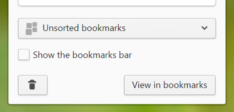 Bookmarks bar when adding