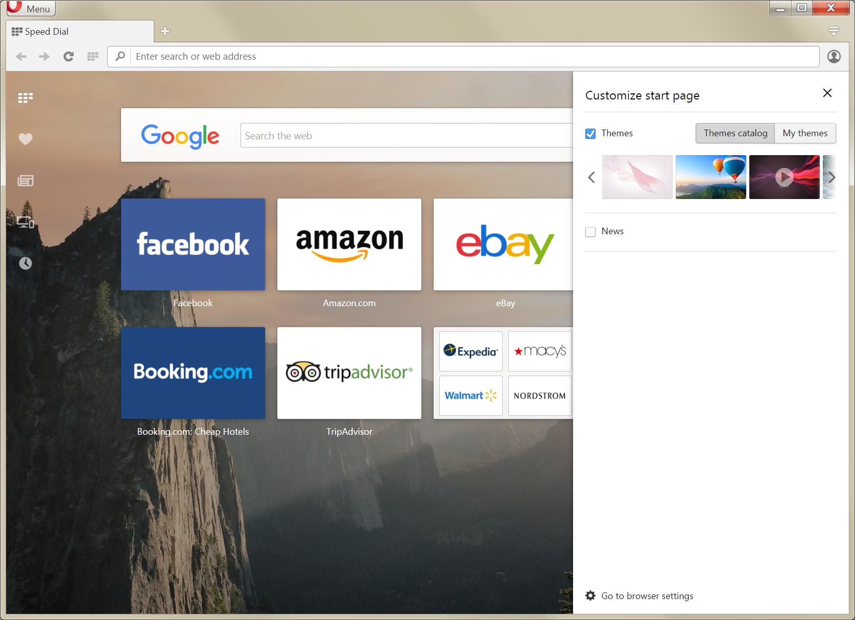 Google themes opera - News As Separate Option