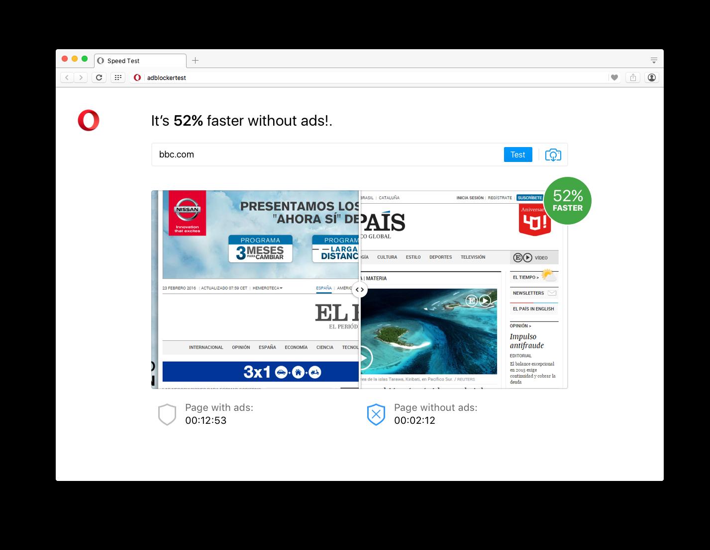 No-ad page benchmark