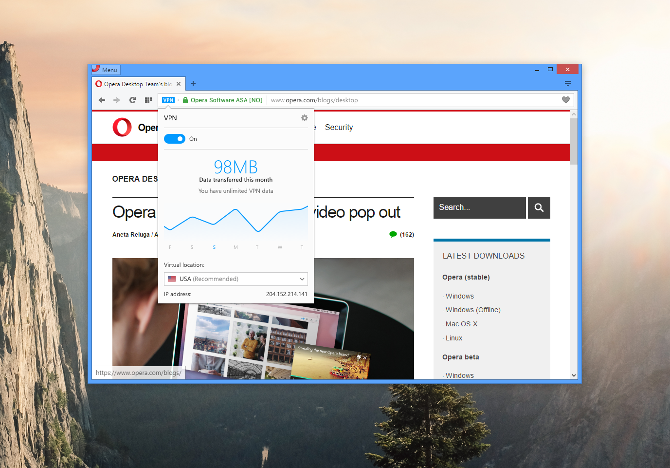 Thumbnail for 'Free VPN integrated in Opera for better online privacy'
