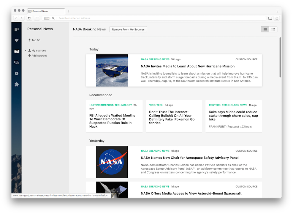 Thumbnail for 'Opera 40 beta with RSS feeds'