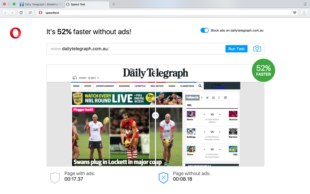 ad blocker in Opera browser: one year review, ad blocking, speed test example website daily telegraph without ads