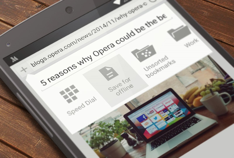 Saved pages in Opera for Android beta -- for offline reading