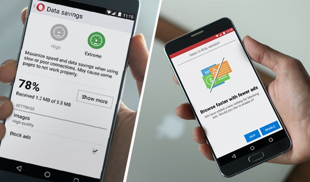 Enable the free ad blocker integrated in Opera Mini for Android for faster browsing